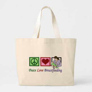 Peace Love Breastfeeding Large Tote Bag
