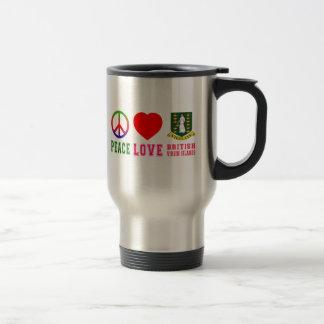 Peace Love British virgin islands 15 Oz Stainless Steel Travel Mug