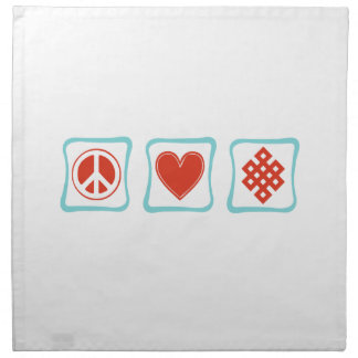 Peace Love Buddhism Squares Cloth Napkin