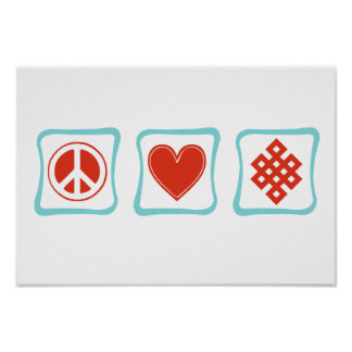 Peace Love Buddhism Squares Poster