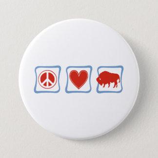 Peace Love Buffalo squares Pinback Button
