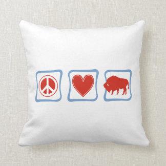 Peace Love Buffalo squares Throw Pillow