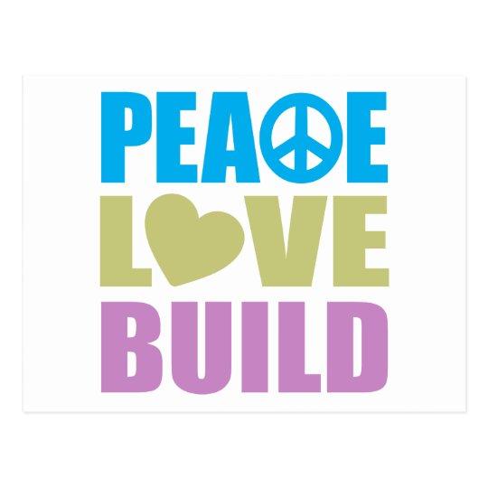 Peace Love Build Postcard
