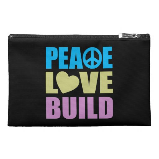Peace Love Build Travel Accessory Bags