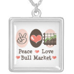 Peace Love Bull Market Necklace