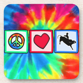Peace, Love, Bull Riding Drink Coaster