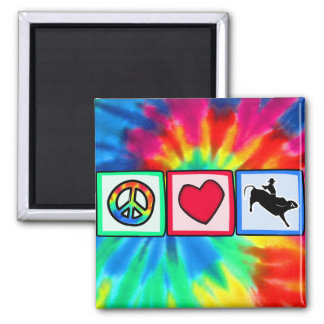 Peace, Love, Bull Riding 2 Inch Square Magnet