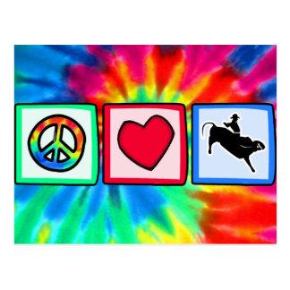 Peace, Love, Bull Riding Postcard