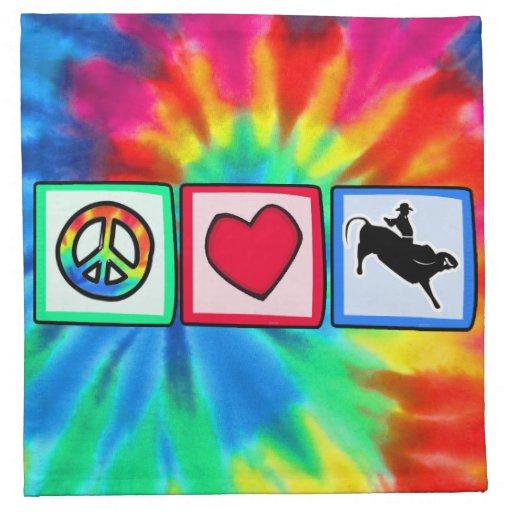 Peace, Love, Bull Riding Printed Napkins