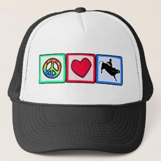 Peace, Love, Bull Riding Trucker Hat