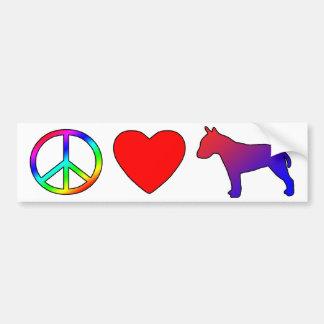 Peace Love Bull Terriers Car Bumper Sticker