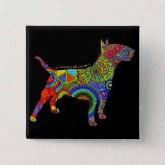 """Peace Love & Bull Terriers"" Pop Art Button"