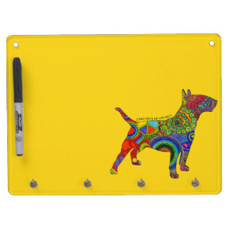 """Peace Love & Bull Terriers"" Pop Art Dry Erase Dry Erase Board With Keychain Holder"