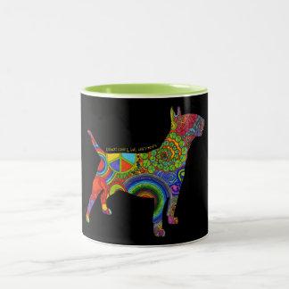 """""""Peace Love & Bull Terriers"""" Pop Art Mug"""