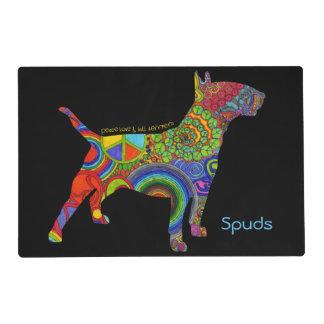 """Peace Love & Bull Terriers"" Pop Art Pet Placemat"