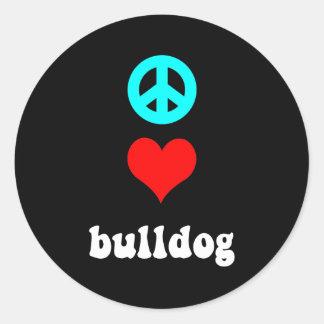 Peace love Bulldog Classic Round Sticker