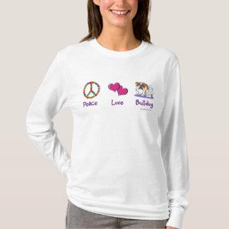 Peace Love Bulldog design T-Shirt
