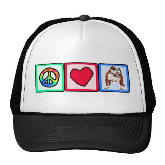Peace, Love, Bulldogs Trucker Hat