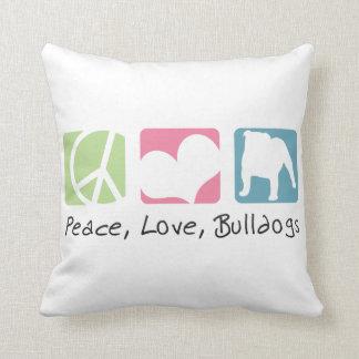 Peace Love Bulldogs Pillow