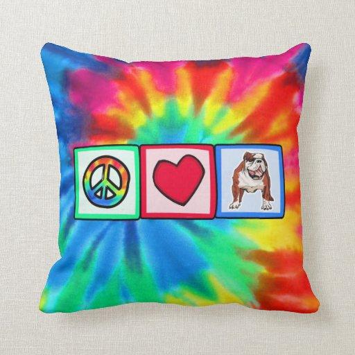 Peace, Love, Bulldogs Throw Pillows
