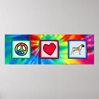 Peace, Love, Bullmastiffs Poster