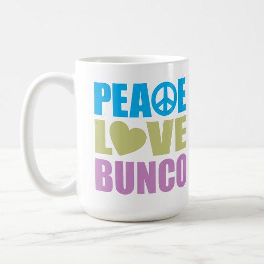 Peace Love Bunco Coffee Mug