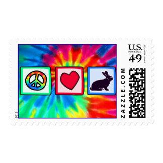 Peace, Love, Bunnies Postage Stamp