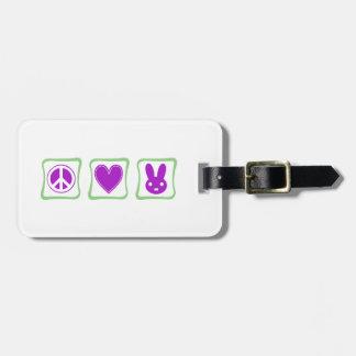Peace Love Bunnies squares Bag Tag