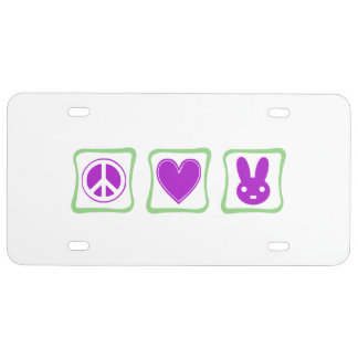 Peace Love Bunnies squares License Plate