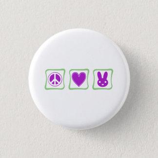 Peace Love Bunnies squares Pinback Button
