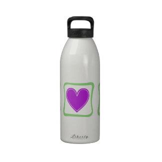 Peace Love Bunnies squares Reusable Water Bottles