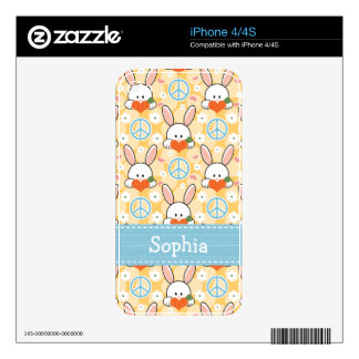 Peace Love Bunny Rabbit iPhone 4 / 4s Skin Decals For The iPhone 4