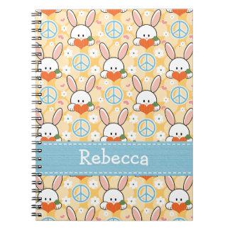 Peace Love Bunny Rabbit Spiral Notebook Journal