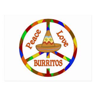 Peace Love Burritos Postcard