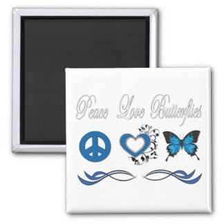Peace Love Butterflies 2 Inch Square Magnet