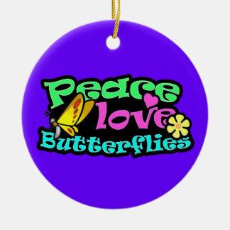 Peace, Love, Butterflies; Retro Christmas Tree Ornaments