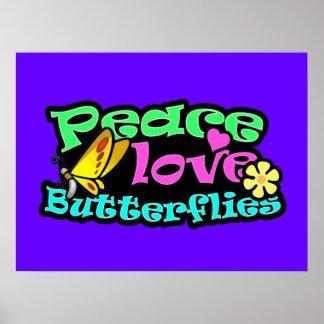 Peace, Love, Butterflies; Retro Poster