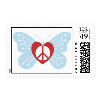 peace love butterfly postage stamp