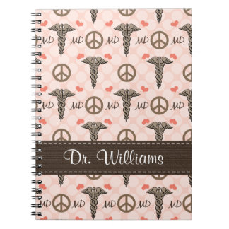 Peace Love Caduceus Doctor MD Spiral Notebook