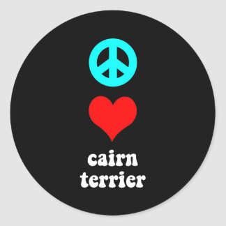 Peace love Cairn Terrier Classic Round Sticker