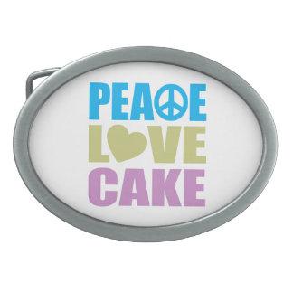 Peace Love Cake Oval Belt Buckle