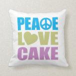 Peace Love Cake Throw Pillows