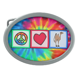 Peace, Love, Camels Oval Belt Buckle