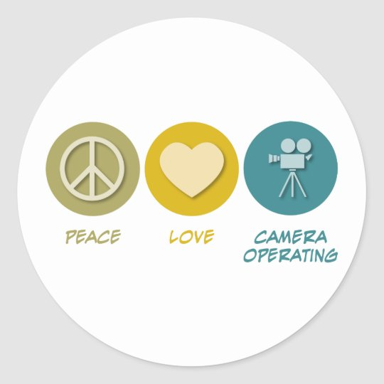Peace Love Camera Operating Classic Round Sticker