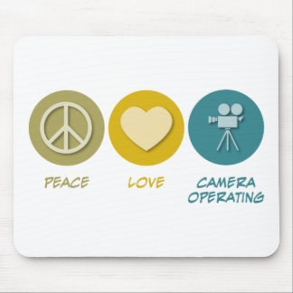 Peace Love Camera Operating Mouse Pad