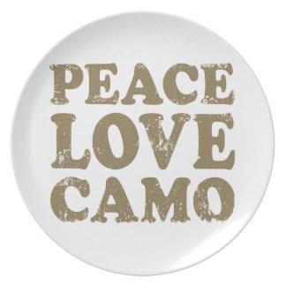 Peace Love Camo Melamine Plate