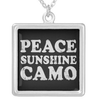 Peace Love Camo Silver Plated Necklace