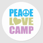 Peace Love Camp Round Stickers