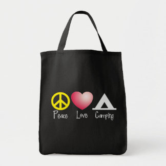 Peace, Love, Camping Grocery Tote Bag