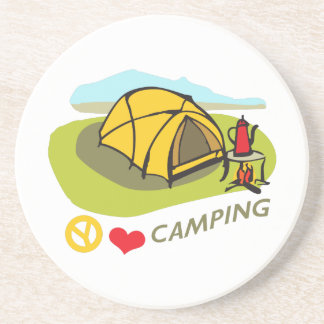 PEACE LOVE CAMPING BEVERAGE COASTER